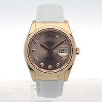 Rolex Datejust 36 Rose Gold Pink diamond dot leather 116135
