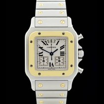 Cartier Santos Chronograph - Ref.: 2425 - Edelstahl/Gelbgold...