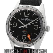 Bell & Ross Vintage BR GMT 24H Stainless Steel Black Dial...