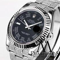 Rolex 41mm Black Face Rolex Datejust 2 Ii With Custom Diamond...