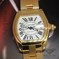 Cartier Roadster Date 18k Yellow Gold Silver Dial Mens Watch...