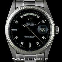 Rolex 18k White Gold Rare Black Diamond Dial Day-Date Vintage...