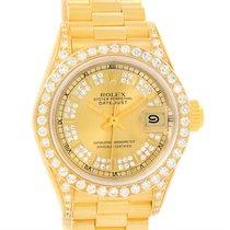 Rolex President Datejust 18k Yellow Gold Diamond Ladies Watch...