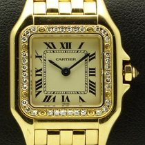 Cartier Panthere lady, 18 kt yellow gold, bezel with diamonds