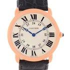 Cartier Ronde Louis 18k Rose Gold Black Strap Mens Watch W6800251