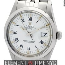 Rolex Oyster Perpetual 34mm Date Steel White Roman Dial Circa...