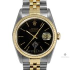 Rolex Datejust Steel and Gold Black Stick Dial Fluted Bezel...