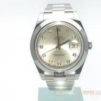 Rolex Datejust II 41 Edelstahl Ref. 116300 Silber Diamant aus...