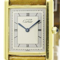 Cartier Must Tank Vermeil Gold Plated Leather Quartz Ladies...