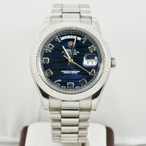 Rolex  41mm 18k White Gold Day Date II 218239  Blue Dial