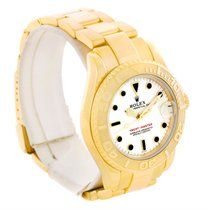 Rolex Yachtmaster Midsize 18k Yellow Gold White Dial Watch 68628