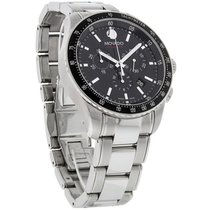 Movado Series 800 Mens Black Swiss Quartz Chronograph Watch...