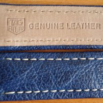 TAG Heuer 20mm Blue+White SEL-Leather Deployant Strap Band