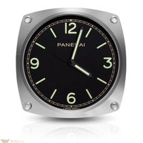 Panerai Luminor Brushed and Polished Steel Black Dial Wall Clock