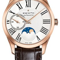Zenith Elite Ultra Thin Moonphase Rose Gold Silver Dial 33mm...