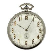 Waltham Platinum & Diamond Pocket Watch Sapphire Stem...
