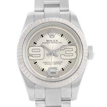Rolex Nondate Stainless Steel 18k White Gold Ladies Watch 176234