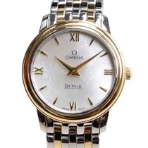 Omega De Ville Gold And Steel White Quartz 424.20.27.60.05.001