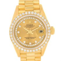 Rolex President Ladies 18k Yellow Gold String Diamond Watch 69158