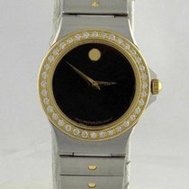Movado Ladies Two Tone Museum Black Dial Movado Diamond Bezel...