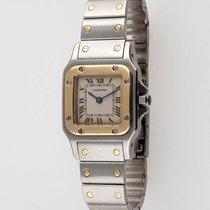 Cartier Santos carrée, or et acier, cadran blanc, mouvement ...