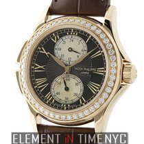 Patek Philippe Calatrava Travel Time 18k Rose Gold Diamond...