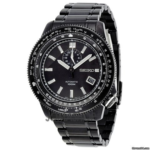 Seiko Black Dial GMT Tachymeter Black PVD Stainless Steel Mens Watch SSA007