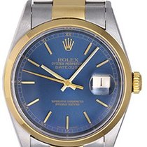 Rolex Datejust Men's Steel & Gold Watch 16203 Blue Dial