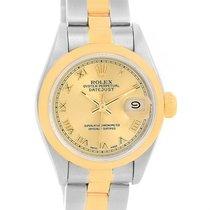 Rolex Datejust Ladies Steel 18k Yellow Gold Roman Dial Watch...