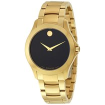 Movado Masino Black Dial Yellow Gold PVD Stainless Steel Mens...