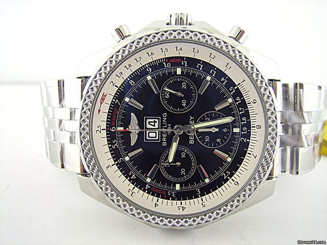 Breitling BENTLEY 6.75 STAINLESS STEEL - BLACK DIAL - W/ WHEEL ON BACK