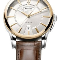 Maurice Lacroix Pontos Day/Date Steel/Gold Case, Brown...