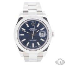 Rolex Datejust II Stainless Steel Smooth Bezel   116300 Blue...