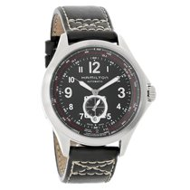 Hamilton Khaki Aviation QNE Mens Black Leather Swiss Automatic...