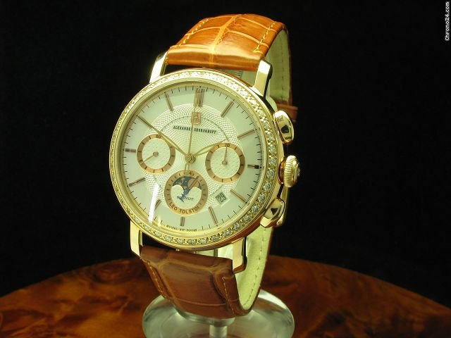 Alexander Shorokhoff Leo Tolstoi 18kt Rotgold Chronograph Mondphase Handaufzug