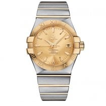Omega Constellation SS & Yellow Gold Champagne Dial...
