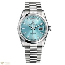 Rolex Day-Date 36 Platinum Domed President Ice Blue Unisex Watch