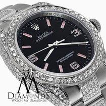 Rolex Oyster Perpetual 36mm Black W/ Pink Dial Custom Diamond...