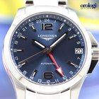 Longines Conquest GMT Automatic 41mm Steel Mens Watch Blue Dial