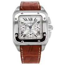 Cartier Santos 100 Chronograph Steel Automatic Silver Dial...