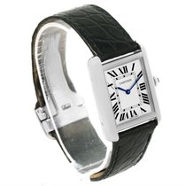Cartier Tank Solo Ladies Stainless Steel Black Strap Watch...