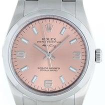 Rolex Air-King Stainless Steel Men's Watch Pink Arabic...