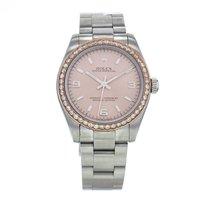 Rolex Oyster Perpetual Steel Custom Diamond Bezel Pink Dial...