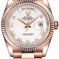 Rolex Day-Date 36mm Everose Gold Fluted Bezel 118235 White...