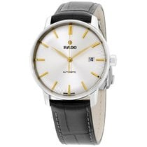 Rado Coupole Silver Dial Black Leather Strap Unisex Watch...
