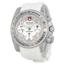 Tudor Chronograph Dial Diamond White Rubber Ladies Watch