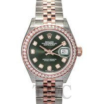 Rolex Lady-Datejust 28 Olive Green Steel/18k Everose Gold Dia...