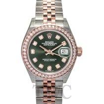 Rolex Lady-Datejust 28 Olive Green Steel/18k Everose Gold Dia...