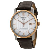 Tissot T-Classic Silver Dial Brown Leather Mens Watch T0874075...
