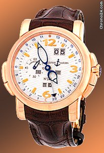 Ulysse Nardin Gent&amp;#39;s 18K Rose Gold  GMT Perpetual Calendar Strapwatch